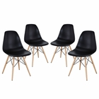 Modway Pyramid Dining Side Chairs Set of 4 in Black MY-EEI-1316-BLK