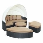 Modway Quest Canopy Outdoor Patio Daybed in Espresso Mocha MY-EEI-983-EXP-MOC-SET
