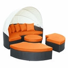 Modway Quest Canopy Outdoor Patio Daybed in Espresso Orange MY-EEI-983-EXP-ORA-SET