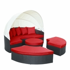 Modway Quest Canopy Outdoor Patio Daybed in Espresso Red MY-EEI-983-EXP-RED-SET