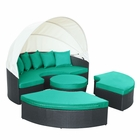 Modway Quest Canopy Outdoor Patio Daybed in Espresso Turquoise MY-EEI-983-EXP-TRQ-SET