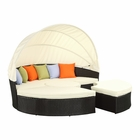 Modway Quest Canopy Outdoor Patio Daybed in Espresso White MY-EEI-983-EXP-WHI-SET