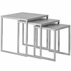 Modway Rail Stainless Steel Nesting Table in Silver MY-EEI-2099-SLV