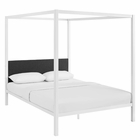 Modway Raina Queen Canopy Steel Bed Frame in White Gray MY-MOD-5570-WHI-GRY