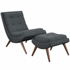 Modway Ramp Upholstered Fabric Lounge Chair Set in Gray MY-EEI-2143-GRY