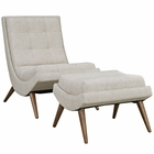 Modway Ramp Upholstered Fabric Lounge Chair Set in Sand MY-EEI-2143-SAN