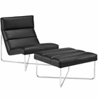Modway Reach Lounge Chairs Faux Leather Set of 2 in Black MY-EEI-2417-BLK-SET
