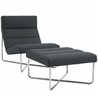 Modway Reach Lounge Chairs Upholstered Fabric Set of 2 in Gray MY-EEI-2418-GRY-SET