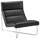 Modway Reach Upholstered Vinyl Lounge Chair in Black MY-EEI-2080-BLK
