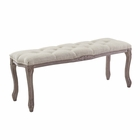 Modway Regal Vintage French Upholstered Fabric Bench in Beige MY-EEI-2794-BEI