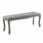 Modway Regal Vintage French Upholstered Fabric Bench in Light Gray MY-EEI-2794-LGR
