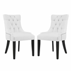 Modway Regent Parsons Dining Side Chairs Faux Leather Set of 2 in White MY-EEI-2742-WHI-SET