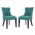 Modway Regent Parsons Dining Side Chairs Upholstered Fabric Set of 2 in Teal MY-EEI-2743-TEA-SET