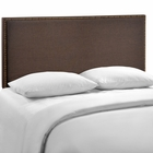 Modway Region Queen Nailhead Upholstered Fabric Headboard in Dark Brown MY-MOD-5215-DBR