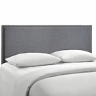 Modway Region Queen Nailhead Upholstered Fabric Headboard in Smoke MY-MOD-5215-SMK