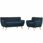 Modway Remark 2 Piece Upholstered Fabric Living Room Set in Azure MY-EEI-1783-AZU-SET