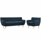 Modway Remark 2 Piece Upholstered Fabric Living Room Set in Azure MY-EEI-1784-AZU-SET