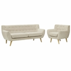 Modway Remark 2 Piece Upholstered Fabric Living Room Set in Beige MY-EEI-1784-BEI-SET