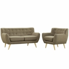 Modway Remark 2 Piece Upholstered Fabric Living Room Set in Brown MY-EEI-1783-BRN-SET