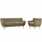 Modway Remark 2 Piece Upholstered Fabric Living Room Set in Brown MY-EEI-1784-BRN-SET