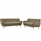Modway Remark 2 Piece Upholstered Fabric Living Room Set in Brown MY-EEI-1785-BRN-SET