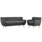Modway Remark 2 Piece Upholstered Fabric Living Room Set in Gray MY-EEI-1784-GRY-SET