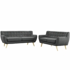 Modway Remark 2 Piece Upholstered Fabric Living Room Set in Gray MY-EEI-1785-GRY-SET
