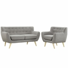 Modway Remark 2 Piece Upholstered Fabric Living Room Set in Light Gray MY-EEI-1783-LGR-SET