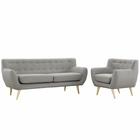 Modway Remark 2 Piece Upholstered Fabric Living Room Set in Light Gray MY-EEI-1784-LGR-SET