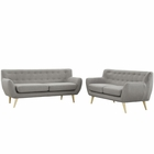 Modway Remark 2 Piece Upholstered Fabric Living Room Set in Light Gray MY-EEI-1785-LGR-SET