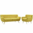 Modway Remark 2 Piece Upholstered Fabric Living Room Set in Sunny MY-EEI-1784-SUN-SET