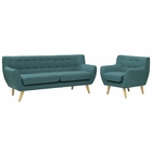 Modway Remark 2 Piece Upholstered Fabric Living Room Set in Teal MY-EEI-1784-TEA-SET