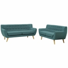 Modway Remark 2 Piece Upholstered Fabric Living Room Set in Teal MY-EEI-1785-TEA-SET
