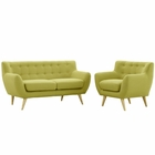 Modway Remark 2 Piece Upholstered Fabric Living Room Set in Wheat MY-EEI-1783-WHE-SET