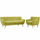 Modway Remark 2 Piece Upholstered Fabric Living Room Set in Wheat MY-EEI-1784-WHE-SET