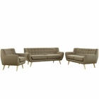 Modway Remark 3 Piece Upholstered Fabric Living Room Set in Brown MY-EEI-1782-BRN-SET
