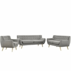 Modway Remark 3 Piece Upholstered Fabric Living Room Set in Light Gray MY-EEI-1782-LGR-SET