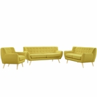 Modway Remark 3 Piece Upholstered Fabric Living Room Set in Sunny MY-EEI-1782-SUN-SET