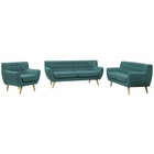 Modway Remark 3 Piece Upholstered Fabric Living Room Set in Teal MY-EEI-1782-TEA-SET