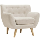 Modway Remark Upholstered Fabric Armchair in Beige MY-EEI-1631-BEI