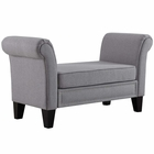 Modway Rendezvous Upholstered Fabric Bench in Light Gray MY-EEI-2548-LGR