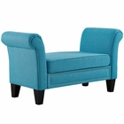 Modway Rendezvous Upholstered Fabric Bench in Pure Water MY-EEI-2548-PUR