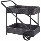 Modway Replenish Outdoor Patio Wicker Rattan Beverage Cart in Espresso MY-EEI-970-EXP