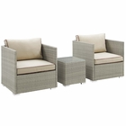 Modway Repose 3 Piece Outdoor Patio Sectional Set in Light Gray Beige MY-EEI-3006-LGR-BEI-SET