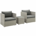 Modway Repose 3 Piece Outdoor Patio Sectional Set in Light Gray Charcoal MY-EEI-3006-LGR-CHA-SET