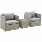 Modway Repose 3 Piece Outdoor Patio Sectional Set in Light Gray Gray MY-EEI-3006-LGR-GRY-SET