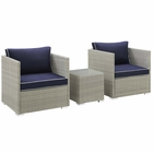 Modway Repose 3 Piece Outdoor Patio Sectional Set in Light Gray Navy MY-EEI-3006-LGR-NAV-SET