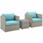 Modway Repose 3 Piece Outdoor Patio Sectional Set in Light Gray Turquoise MY-EEI-3006-LGR-TRQ-SET