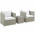 Modway Repose 3 Piece Outdoor Patio Sectional Set in Light Gray White MY-EEI-3006-LGR-WHI-SET