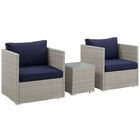 Modway Repose 3 Piece Outdoor Patio Sunbrella® Sectional Set in Light Gray Navy MY-EEI-3007-LGR-NAV-SET